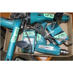 "Makita Tools; Cordless Flashlight; Sm. 85mm Circ. Saw; 3/8"" Drill w/2 Chrgrs & 2 Batteries"