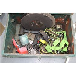 "Green Wood Work Box w/Contents-12"" Cut of Blades, 3/8"" Drill, Safety Harness, Paint Gun, Air Regulat"