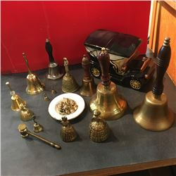Tray Lot of Variety Hand Bells & Mini Brass Ornaments