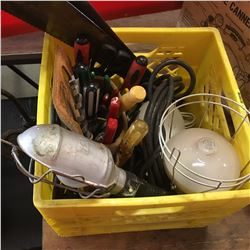 Milk Crate w/Tool Contents: Leather Tool Pouch, Trouble Light, Heat Lamps, Hand Saws, etc