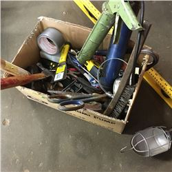 Box Lot: Variety Tools (Hammers, Tape Measure, Trouble Light, Tin Snips, etc) & Level