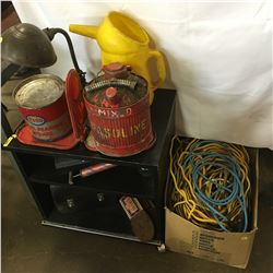 Vintage Tools: Bearing Grease Tin, Gas Can, Lunch Kit, 1 Gal Oil Jug (Shell), Desk Lamp, Ext. Cords,