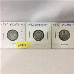 Canada Ten Cent - Set of 3: 1931; 1932; 1936