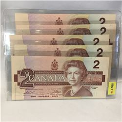 Canada $2 Bill 1986 - Set of 5: (Sequential): EGK9266565-66-67-68-69