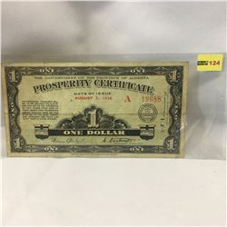 "The Government of the Province of Alberta ""Prosperity Certificate"" 1936"