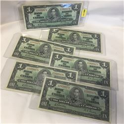 Canada $1 Bill 1937 - Set of 6 Sequential: KM2328874/75/76/77/78/79