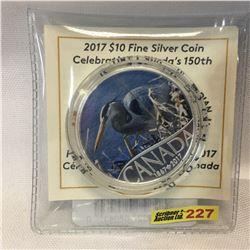 """2017 $10 Fine Silver Coin : Celebrating Canada's 150th """"Great Blue Heron"""""""