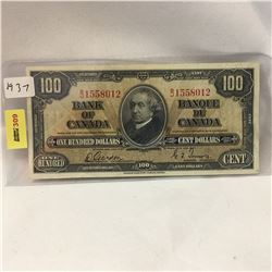 Bank of Canada $100 Bill 1937 S/N#BJ1558012