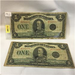 """(2) Dominion of Canada $1 Bills 1923 """"Horse Blankets"""" S/N#D4544071 & D2841096"""