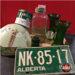 Tray Lot: (Green is the Theme!) License Plate, Vases, Insulators, Tobacco Tin, Lamp Shade & Jar