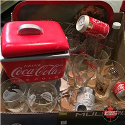 Tray Lot: Coca-Cola Collectibles (Cookie Jar, Tray, Glasses) etc
