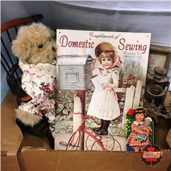 """Box Lot: Small Wooden Chair, 1930's Childs Book, Candelabras; """"Domestic Sewing"""" Repro Tin Sign, etc"""