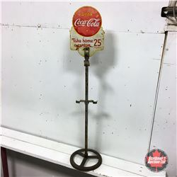 """Vintage Canada """"Drink Coca-Cola"""" 6 Pack Store Display Bottle Rack """"Take Home a Carton"""" Sign (Cast Ba"""