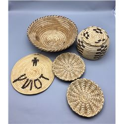 Group of Vintage Tohono O'odham Baskets