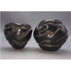 Pair of Santa Clara Carved Pots