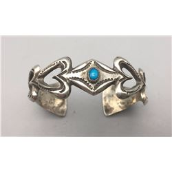 "Turquoise and Sterling ""Heart"" Bracelet"