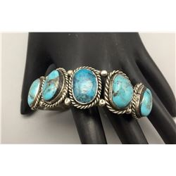 5 Stone Turquoise And Sterling Bracelet