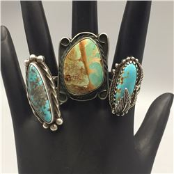 3 Sterling Silver and Turquoise Rings