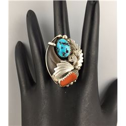 Bear Claw, Turquoise, Sterling Ring
