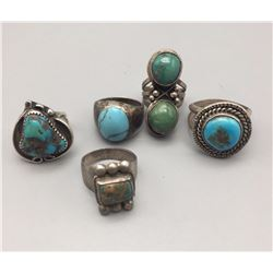 Lot of 5 Sterling and Turquoise Rings
