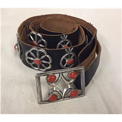 Vintage Sterling and Coral Concho Belt