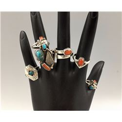 Lot of 6 Turquoise, Coral, Sterling Rings