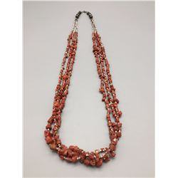 Multi-Strand Coral and Heishi Necklace