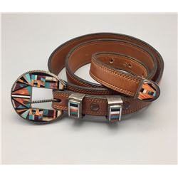 4 Piece Inlay Belt Buckle and Belt
