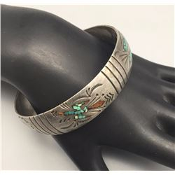 Turquoise and Coral Inlay Bangle Bracelet