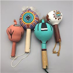 Group of 4 Native Style Dance Rattles