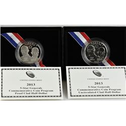 U.S. 2013-S & D 5-Star Generals 50¢ Commems Proof & Business Strike W/Box & COA
