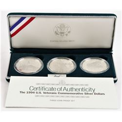 U.S. 1994 3 Coins Veterans Commemorative Proof Silver Dollars
