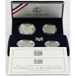 U.S. 1994 World Cup Silver $1 & 50¢ Commems Proof & Business Strike W/Box & COA ( 2 sets )