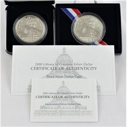 U.S. 2000-P Library of Congress Silver $1 Commems Proof & Business Strike W/Box & COA