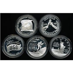 U.S. Lot of (5) United States Commemorative Proof Silver Dollars