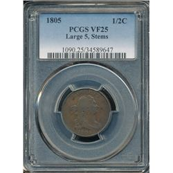 1805 Draped Bust Half Cent  PCGS VF25
