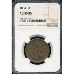 1854 Braided Hair Large Cent NGC AU55BN