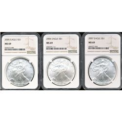 U.S. 2005, 2006 & 2007 $1 American Silver Eagles NGC MS69