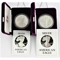 U.S. 1986 & 1987 $1 American Silver Eagle Proofs  with Original Boxes & COA