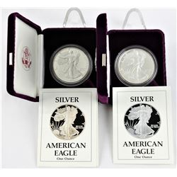 U.S. 1988 & 1989 $1 American Silver Eagle Proofs  with Original Boxes & COA