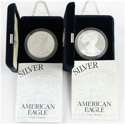 U.S. 2000 & 2001 $1 American Silver Eagle Proof with Original Box & COA