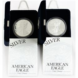 U.S. 2002 & 2003 $1 American Silver Eagle Proof with Original Box & COA