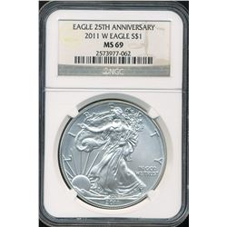 U.S. 2011-W $1 American Silver Eagle 25th Anniversary NGC MS69
