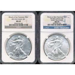 U.S. 2011-S & 2014-S Early Releases $1 American Silver Eagles NGC MS69
