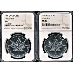 1998 & 1999 Canada $5 Silver Maple Leafs NGC MS67