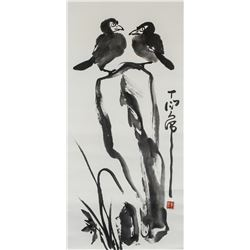 DING YANYONG Chinese 1902-1978 Watercolor Birds