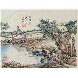 PAN ZHILIAN Chinese Watercolor of Garden on Paper