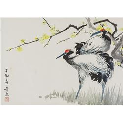 LU JIN Chinese Watercolor Cranes on Paper Roll