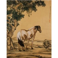 MA JIN Chinese 1900-1970 Watercolor Horse Scroll
