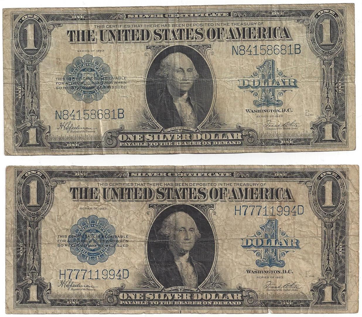 1923 1 Large Silver Certificate Speelman White Notes Lot Of 2